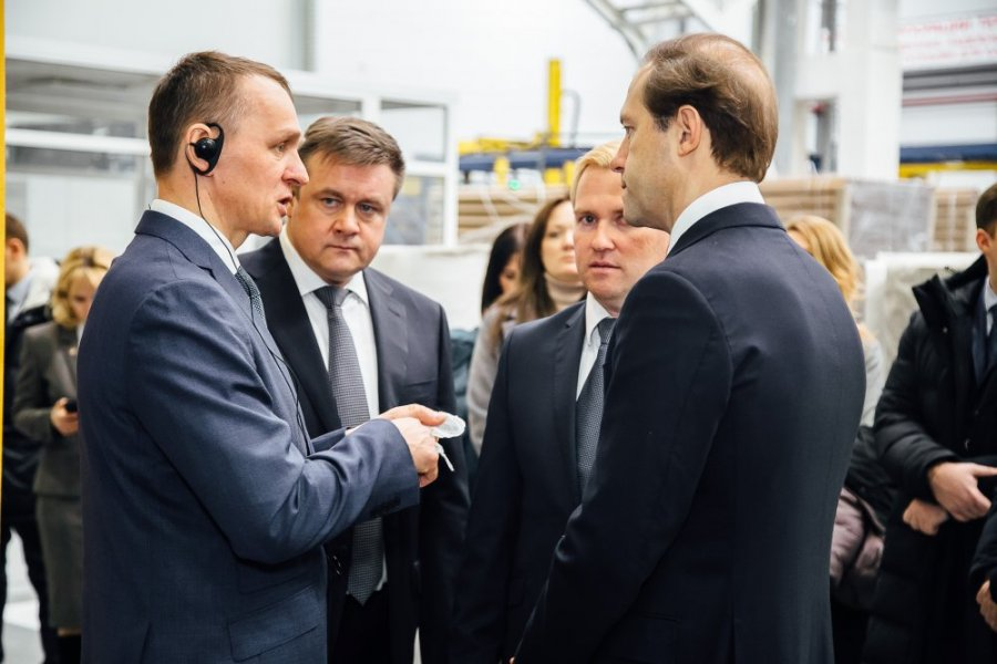 Russian Minister of Industry and Trade Denis Manturov visits TECHNONICOL plants in Ryazan